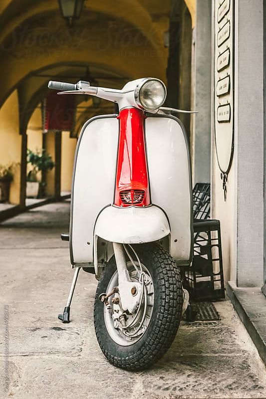 Classic Italian Scooter Parked in an Alleyway by Giorgio Magini for Stocksy United