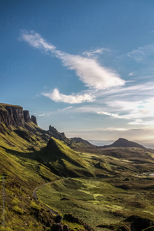 Sunrise on Quiraing, Isle of Skye, Scotland by Leander Nardin for Stocksy United