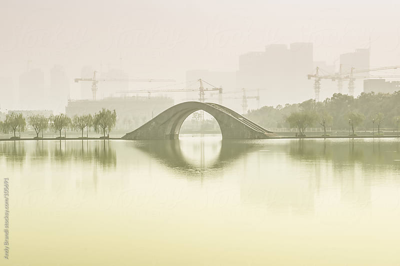 Bridge and Cranes by Andy Brandl for Stocksy United