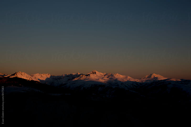 Cascade Mountain Range at Sunset by Evan Dalen for Stocksy United