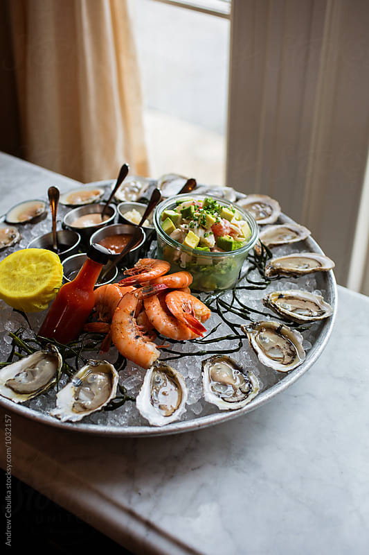 Shellfish Platter at The Ordinary by Andrew Cebulka for Stocksy United