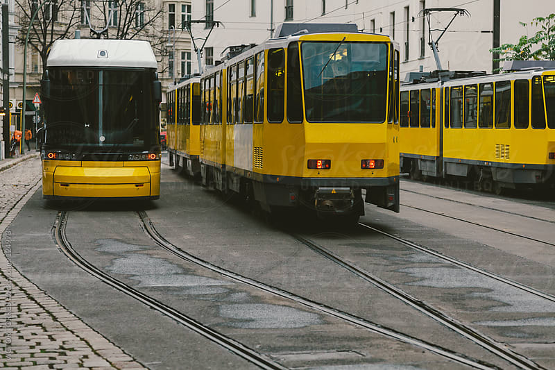 Yellow Trams in Berlin by VICTOR TORRES for Stocksy United
