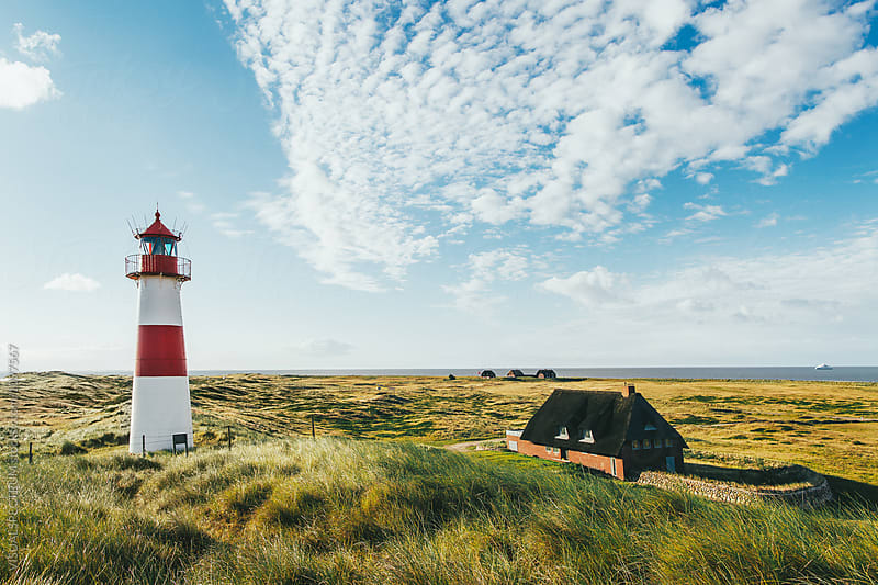 Lighthouse and Remote Homes on Sunny Summer Morning in Sylt (Germany) by Julien L. Balmer for Stocksy United