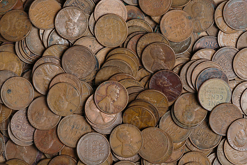 Old money background  USA one cent coins from 1940s - 1950s by David Smart for Stocksy United