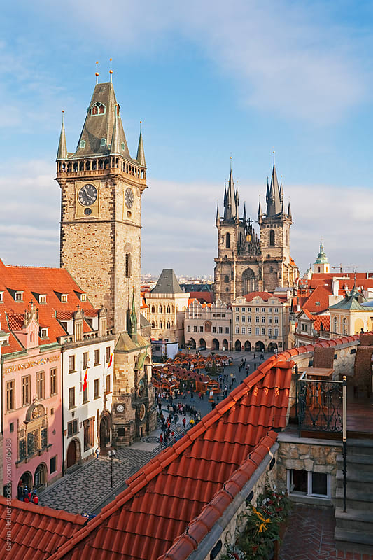 Stare Mesto Square towards gothic Tyn Church and Town Hall, Prague, Czech Republic, Europe  by Gavin Hellier for Stocksy United