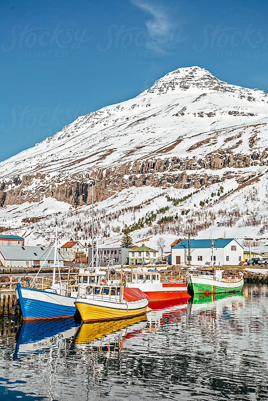 Colorful fishing boats in port in winter by Soren Egeberg for Stocksy United