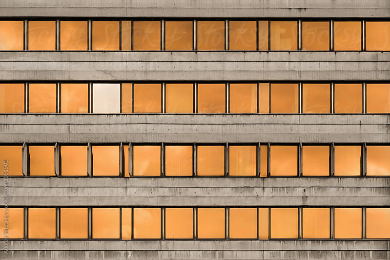 Unusual communist architecture/ Detail of facade of building. by Marko Milanovic for Stocksy United