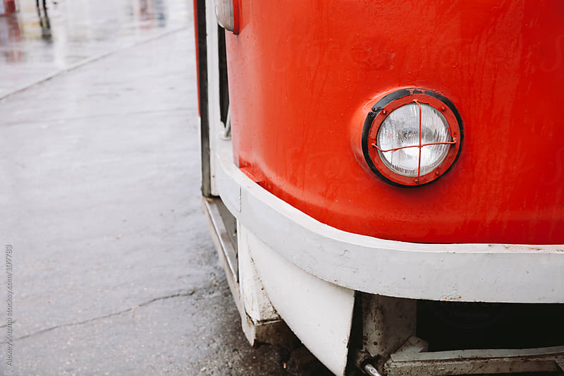 retro  red tram by Alexey Kuzma for Stocksy United