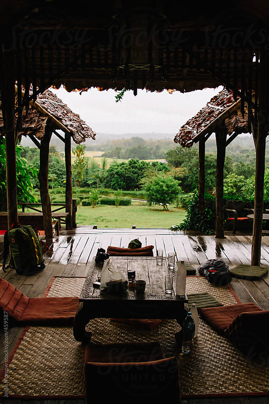Beautiful look out from grass hut in Thailand by Jesse Morrow for Stocksy United