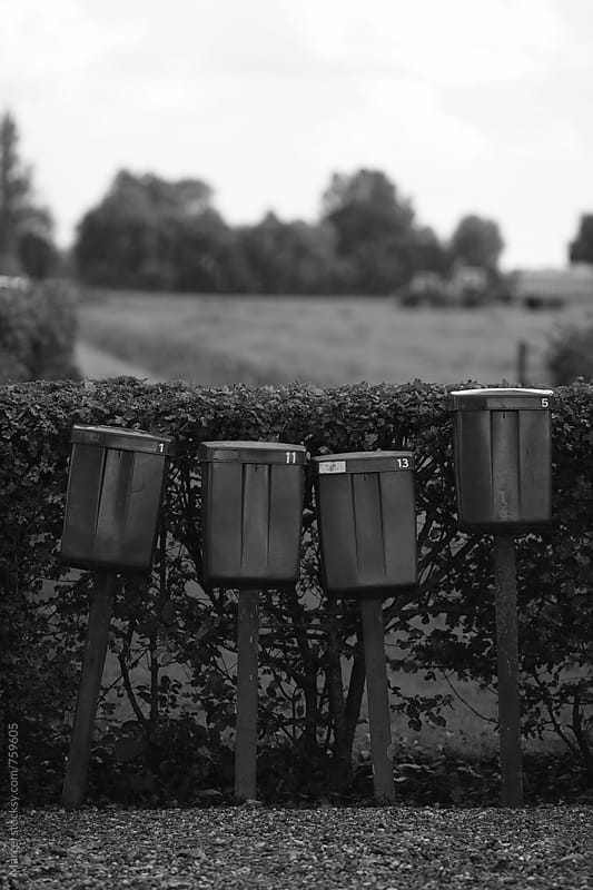 Rural Dutch mailboxes in black and white by Marcel for Stocksy United