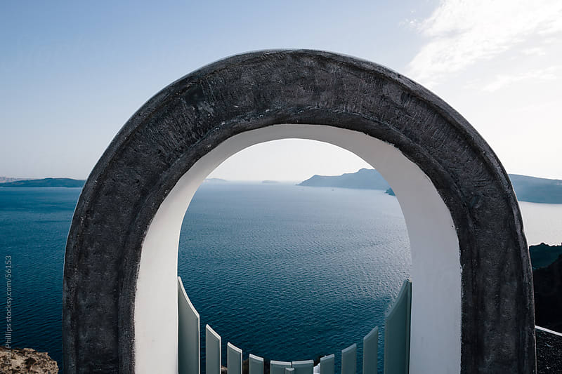 Gate to the caldera, Santorini, Greece by Paul Phillips for Stocksy United