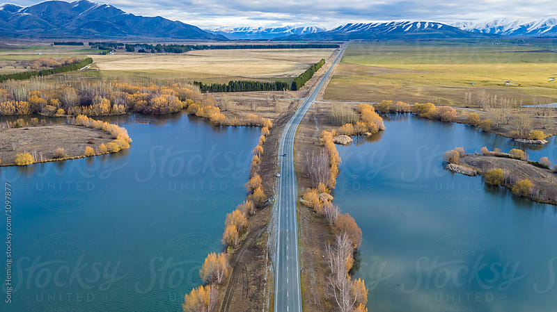 Beautiful aerial view of  country road