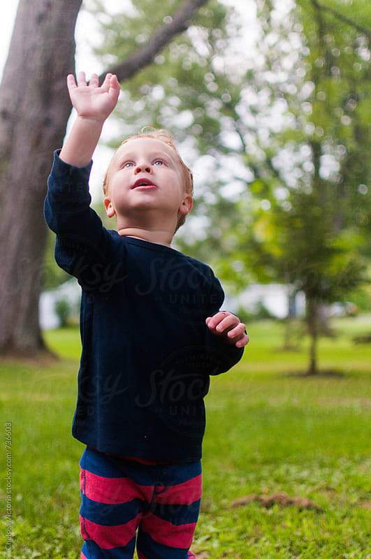A young boy waving to an airplane in the sky by Chelsea Victoria for Stocksy United