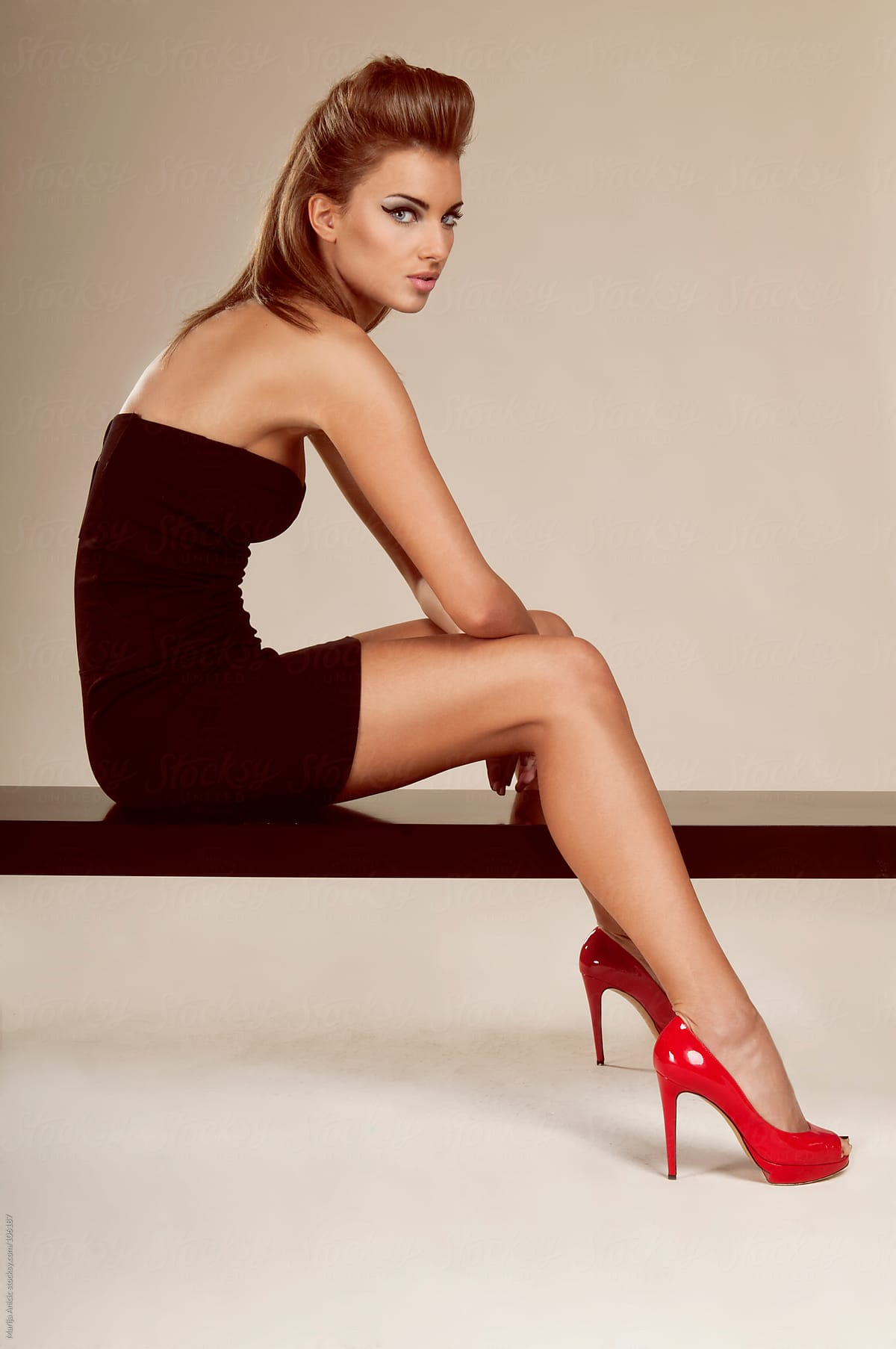 Black Dress with Red Shoes