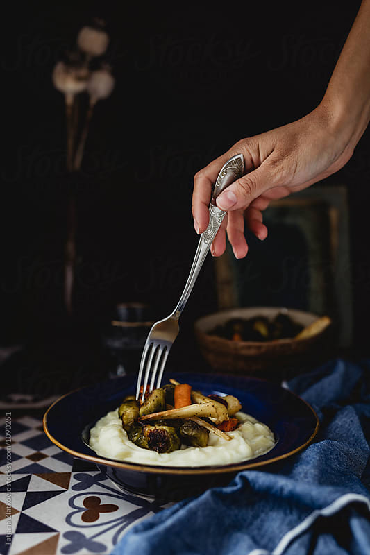 Mashed potato with roasted vegetables by Tatjana Ristanic for Stocksy United
