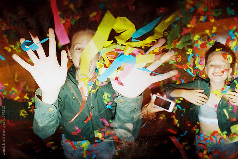happy birthday confetti teen girl double exposure fun by wendy laurel for Stocksy United