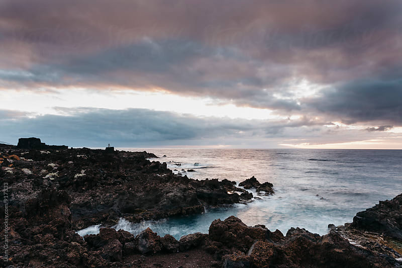 Volcanic coastline at sunrise. La Palma, Canary Islands. by Liam Grant for Stocksy United