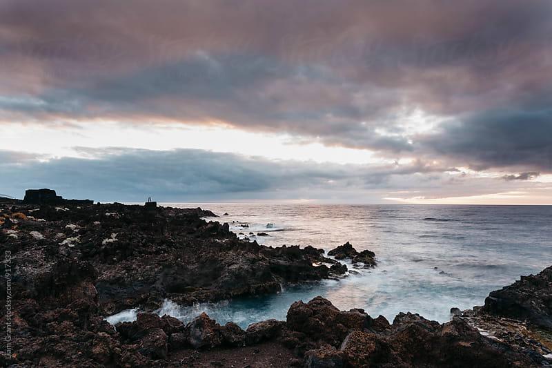Volcanic coastline at sunrise. La Palma, Canary Islands. by Liam Grant for Stocksy United