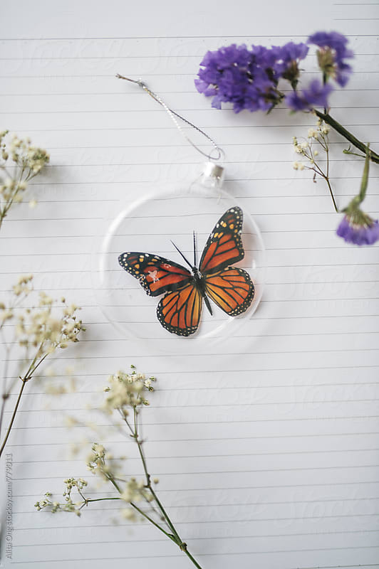 Beautiful faux butterfly in Christmas baubles on notebook by Alita Ong for Stocksy United