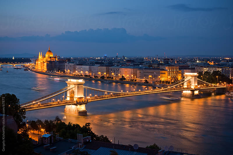 Budapest at night. by Gergely Kishonthy for Stocksy United