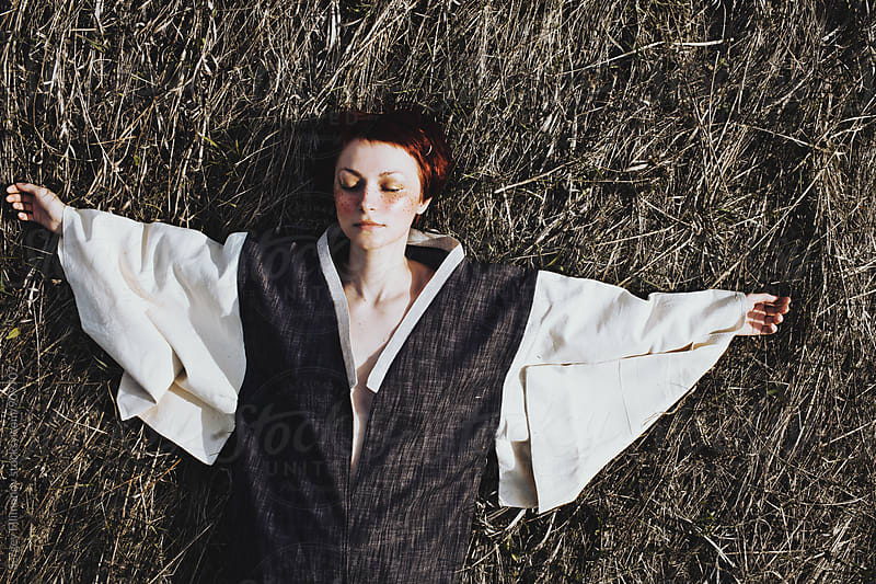 Pretty Woman Lie in Field With Kimono by Sergey Filimonov for Stocksy United