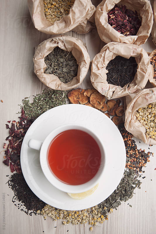 cup of tea and tea bags by B & J for Stocksy United