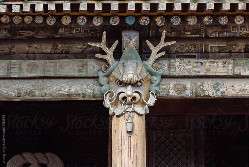 dragon on the pillar,Chinese ancient architecture by zheng long for Stocksy United