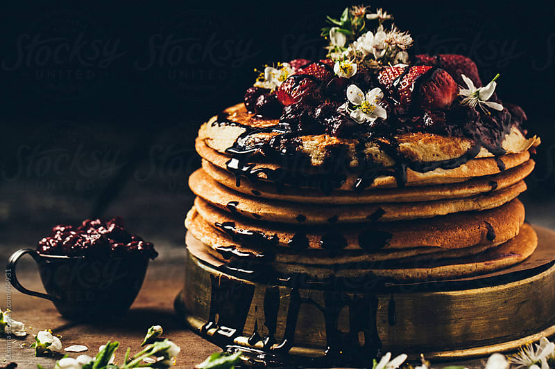 Pancakes With Chocolate and Strawberries by Lumina for Stocksy United