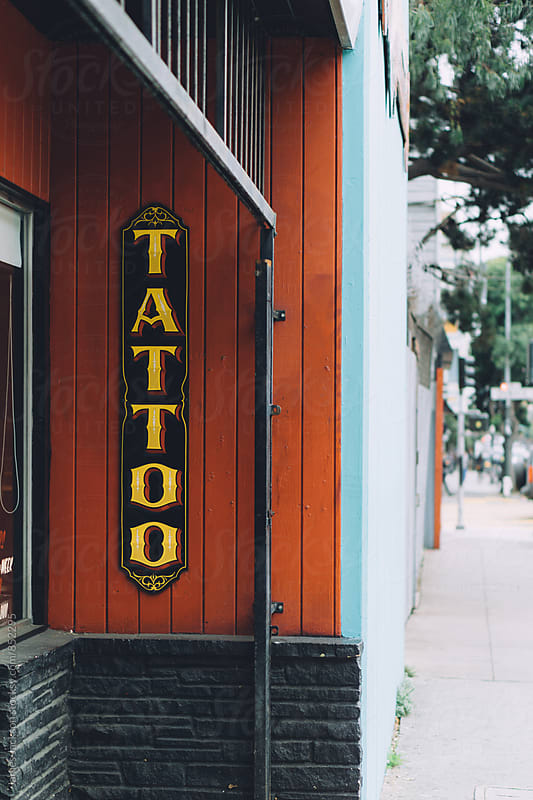 Tattoo shop signage by James Jackson for Stocksy United