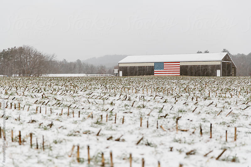 Rural Barn In Winter with American Flag by Raymond Forbes LLC for Stocksy United