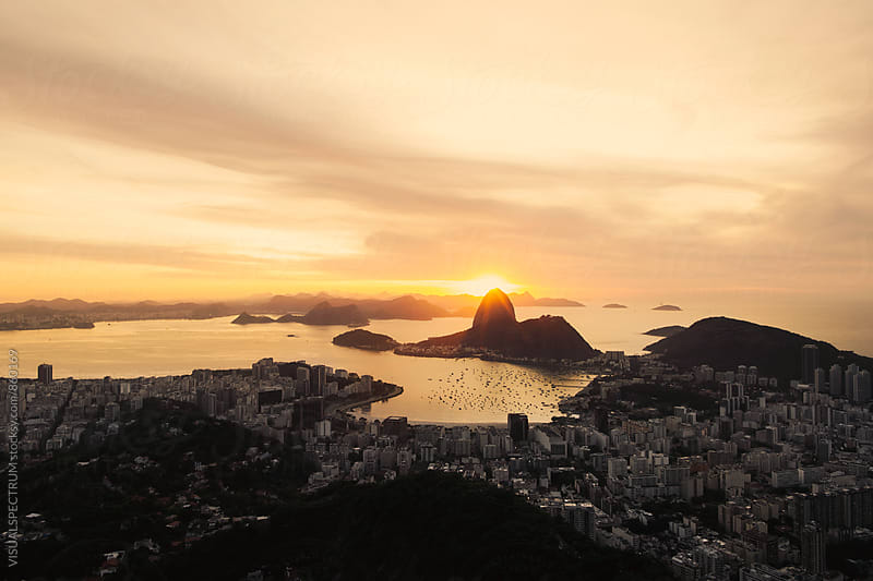 Sunrise Behind Sugarloaf in Rio de Janeiro Brazil by VISUALSPECTRUM for Stocksy United