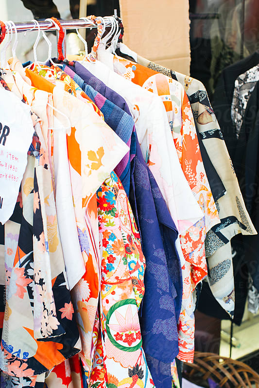 Vintage Kimonos on Clothes Rack by Julien L. Balmer for Stocksy United