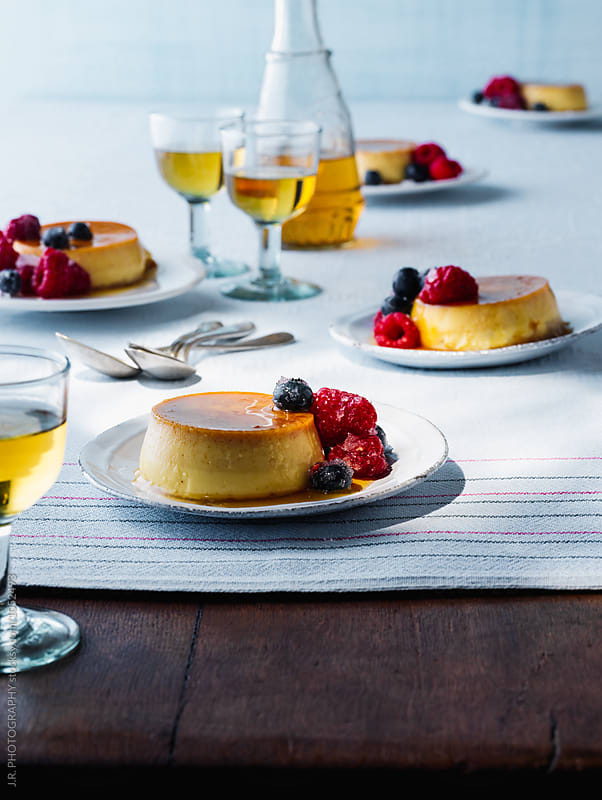 Creme caramel with fruit by J.R. PHOTOGRAPHY for Stocksy United