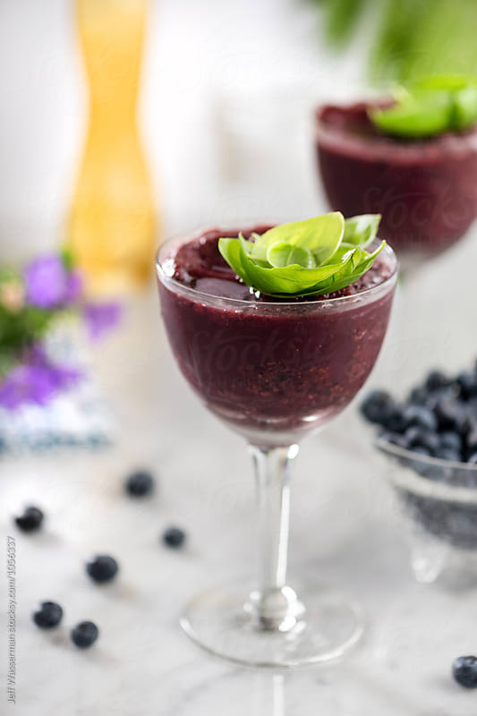 Blueberry Basil Cocktail by Jeff Wasserman for Stocksy United
