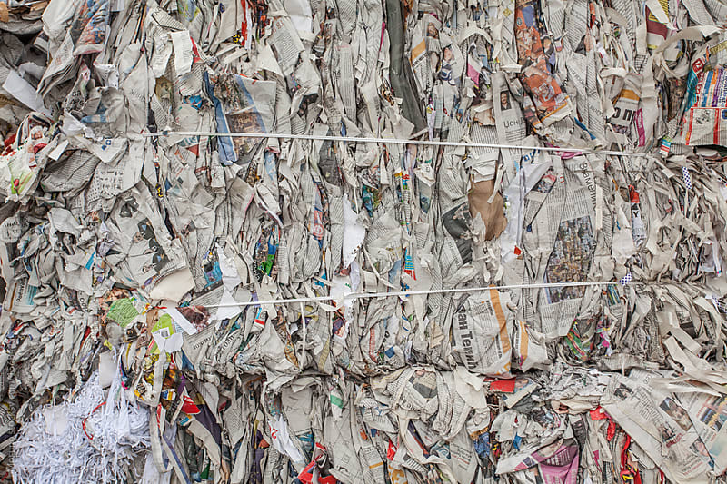 Old Paper Stacked for Recycling by Mosuno for Stocksy United