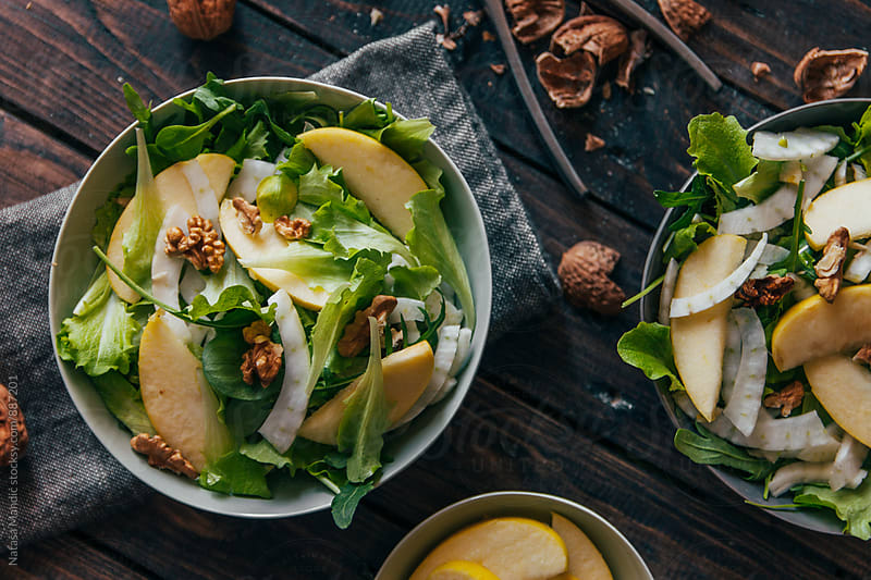 Delicious salad with fennel, apple and walnuts by Nataša Mandić for Stocksy United