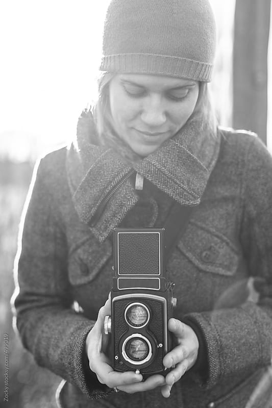 Woman with analog camera by Zocky for Stocksy United