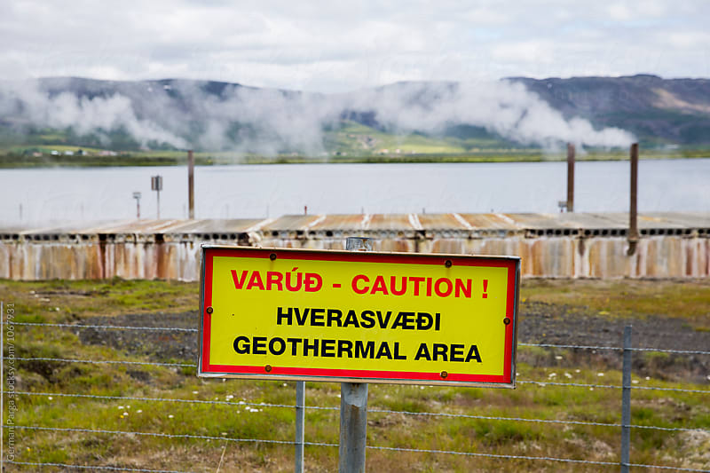 Sign of caution in geothermal area by German Parga for Stocksy United