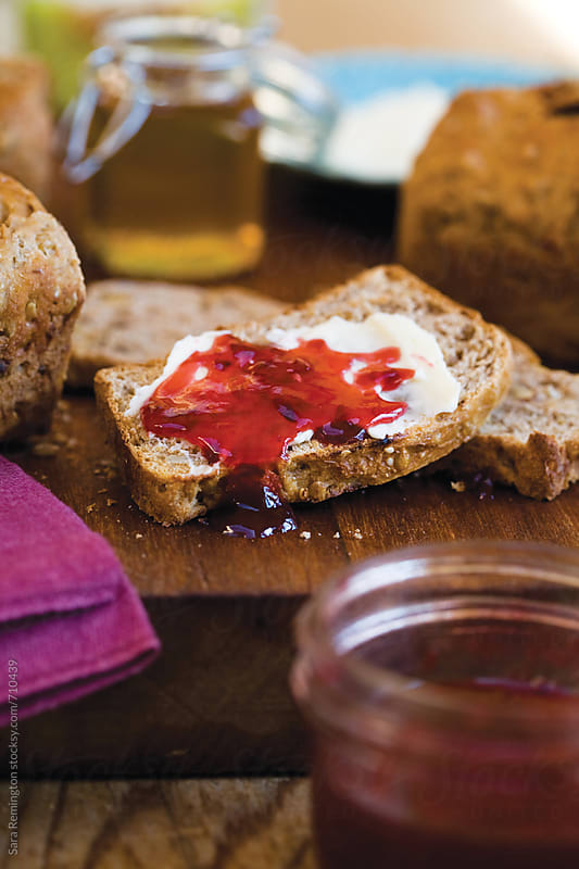 Toast with Strawberry Jam by Sara Remington for Stocksy United