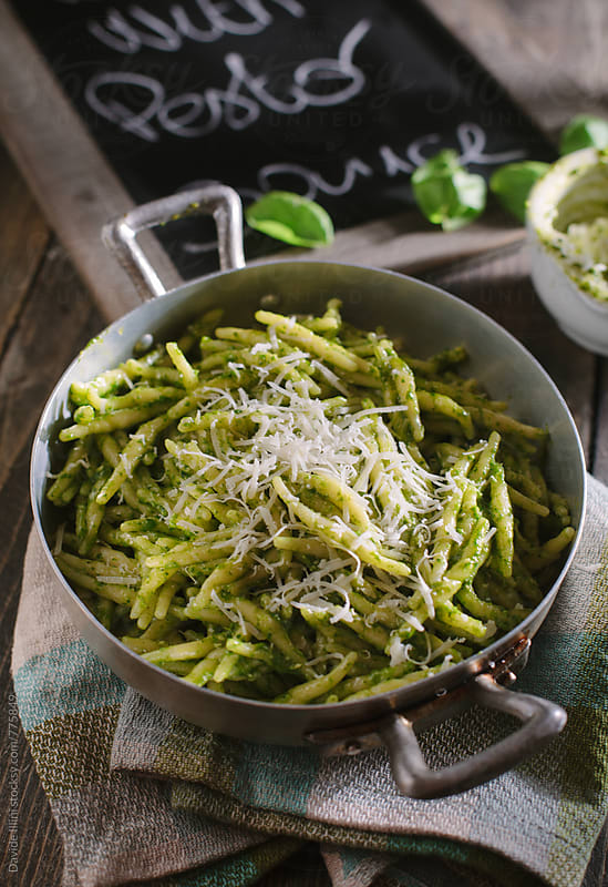 Pasta with pesto sauce by Davide Illini for Stocksy United