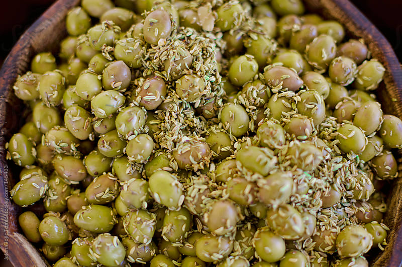 Green olives close up by Jelena Jojic Tomic for Stocksy United