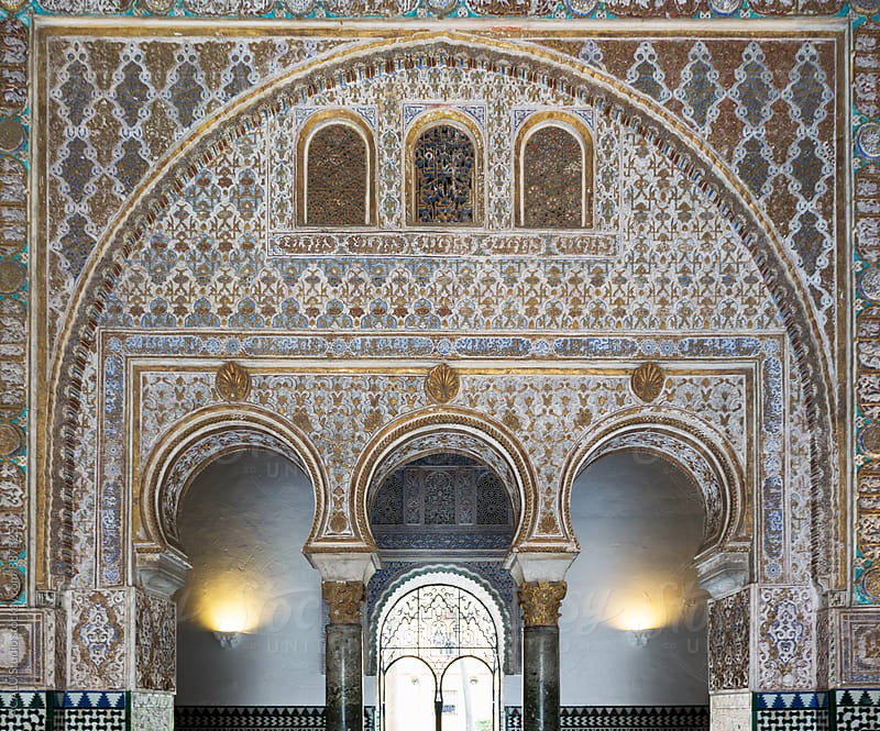 Moorish palace with carved stone wall by ACALU Studio for Stocksy United