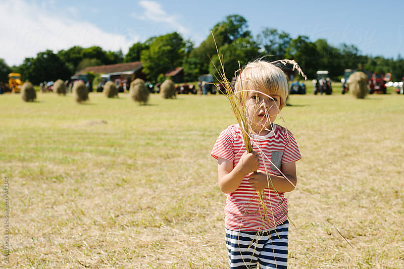 Blonde Scandinavian looking child carries hay in his hands. Behind him, in the distance, are haystacks and tractors. by Julia Forsman for Stocksy United