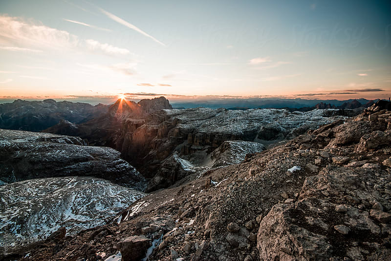 Dolomites, Italy: Mountain panorama at Sunset from Piz Boe by Peter Wey for Stocksy United