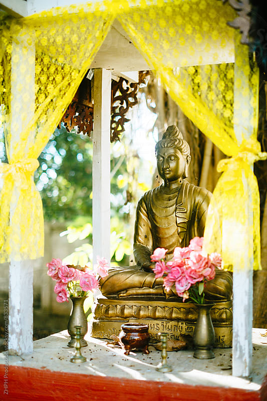 Buddhist shrine in local thai village by Artem Zhushman for Stocksy United