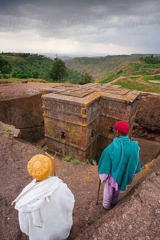 Africa, Ethiopia, Northern Ethiopia, Lalibela, The most famous of Lalibela's Rock Hewn churches, The Sunken Rock Hewn church of Bet Giyorgis, 'St. George', dating from the 12th Century, Lalibela's Rock Hewn Churches  rank amoung the greatest religio-histo by Gavin Hellier for Stocksy United