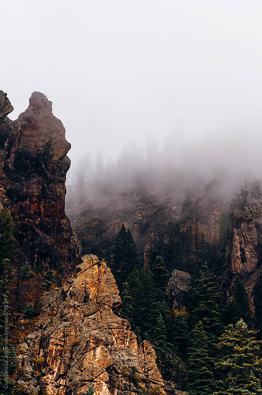 Brown rocky formation covered in fog around alpine trees by Constanza Caiceo for Stocksy United