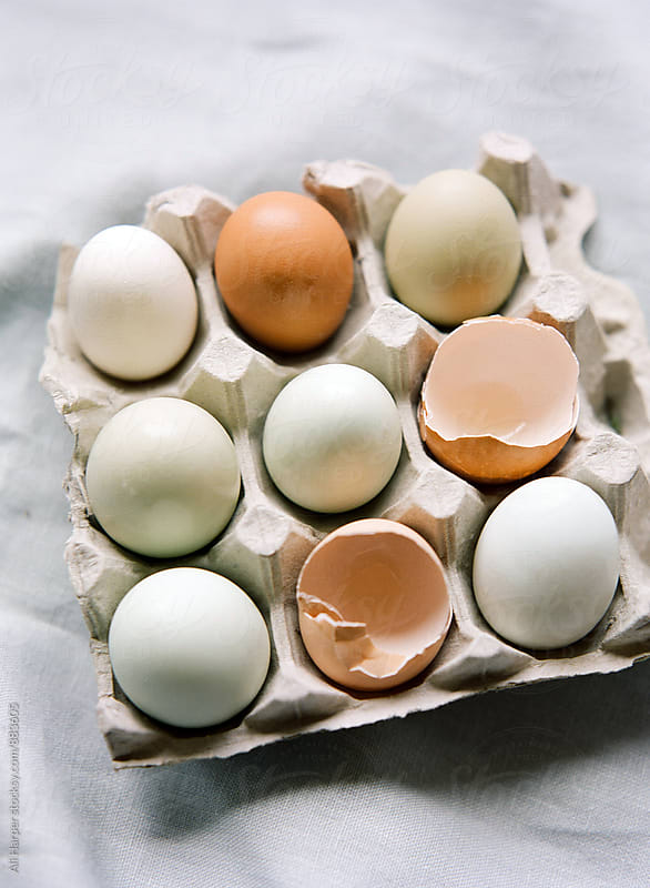 Nine eggs in carton on table by Ali Harper for Stocksy United
