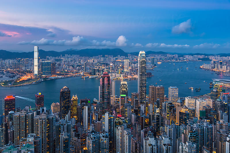 Evening Panorama of Hong Kong by Tom Uhlenberg for Stocksy United