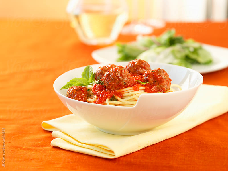 Spaghetti and Meatballs by Jill Chen for Stocksy United